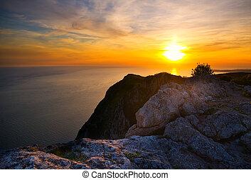 montagne, tramonto, hight