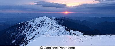 montagne, tramonto, inverno, panorama