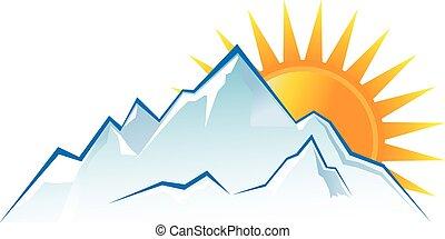 montagne, tramonto, logotipo