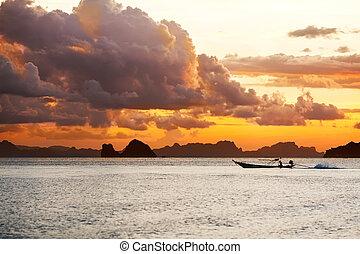 montagne, tramonto, mare, fondo