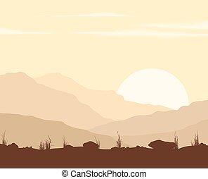 montagne., tramonto, paesaggio
