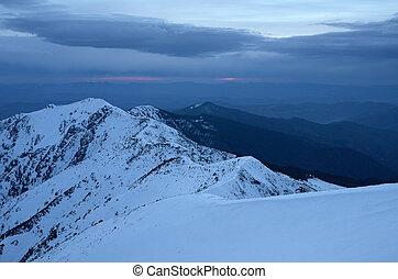 montagne, tramonto, paesaggio inverno