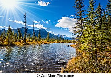 montagne, tramonto, roccioso, vermiglio, laghi