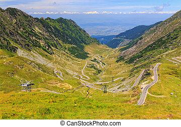 montagne, transfagarasan, carpathians, route, roumaine