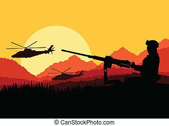 montagne, transport, nature, armée, illustration, fusils, ...