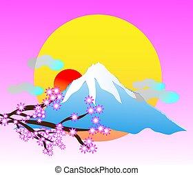 montagne, travle, japon, paysage, volcan