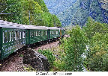 montagne, treno, attraverso, scandinavo
