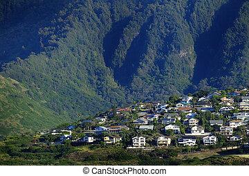 montagne, tropicale, case, collina verde, posizione