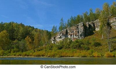 montagne, ural, paysage rivière, montagnes