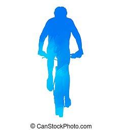 montagne, vélo, coureur
