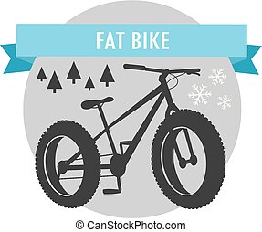 montagne, vélo, graisse, vélo, emblème, sport