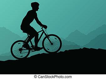 montagne, vélo, nature, affiche, cyclistes, actif, vecteur, ...