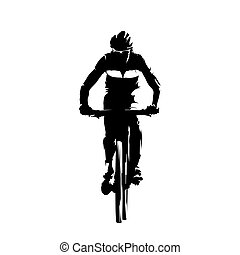 montagne, vecteur, cyclisme, isolé, motard, silhouette.
