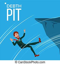 montagne, vecteur, effrayé, illustration, chutes, bord, pit., faillite, homme affaires, tomber, dette, crise