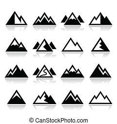 montagne, vecteur, ensemble, icônes
