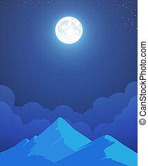 montagne, vecteur, entier, lune, nuit, paysage