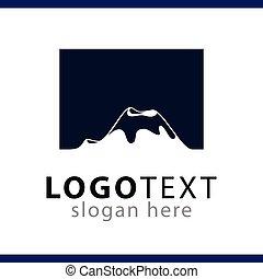 montagne, vecteur, gabarit, logo