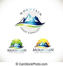 montagne, vecteur, logo