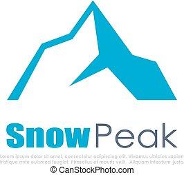 montagne, vecteur, neige, icône