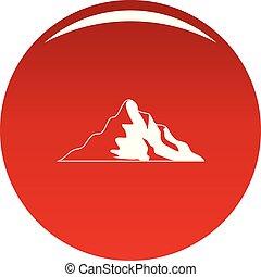 montagne, vecteur, neige, rouges, icône