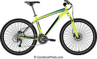 montagne, vecteur, vélo