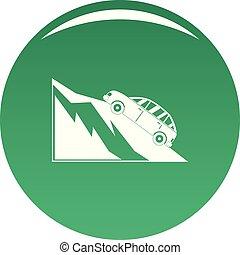 montagne, vecteur, vert, icône, accident