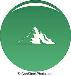 montagne, vecteur, vert, neige, icône