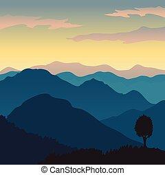 montagne, vecteur, vue
