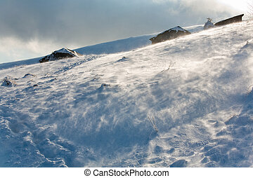 montagne, venteux, vue, hiver, neigeux