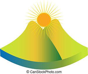 montagne, vert, logo