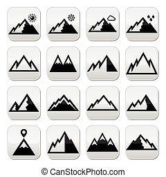 montagne, vettore, bottoni, set