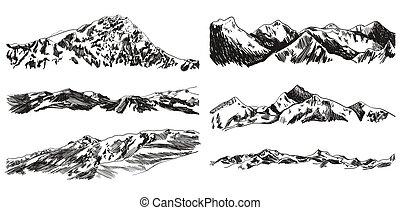 montagne, vettore, colline, isolato, collezione, mano, drawings., fondo, nero, disegnato, bianco, scarabocchio