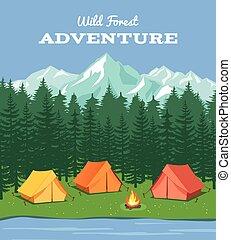 montagne, vettore, fiume, campeggiare, camping., esterno, natura, fondo, foresta, tenda, illustrazione