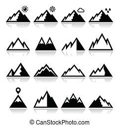 montagne, vettore, set, icone