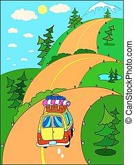 montagne., viaggio, strada