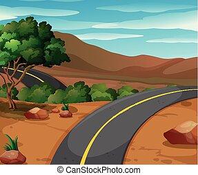 montagne, vide, scène, route