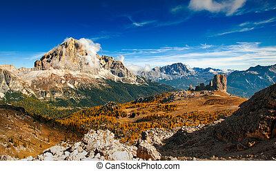montagne, vista, -, panoramico, dolomiti, ofhigh, italiano