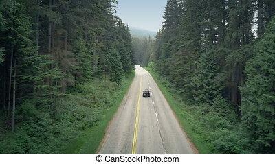 montagne, voiture, haut, conduit, vélos, autoroute