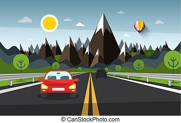 montagne, voitures, vecteur, paysage, dessin animé, route, autoroute