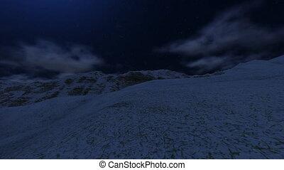 montagne, voler, lune, au-dessus, neigeux
