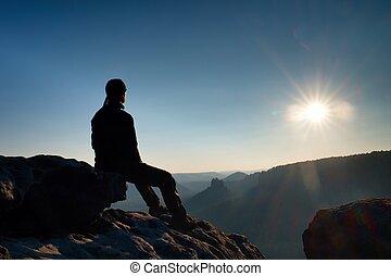 montagne, voyager, sommet, prendre, valley., européen, ...