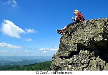 montagne, wald, sommet, parc, grosser, bayerische, arber, girl, national, germany.