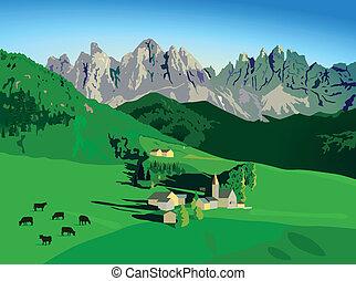 montagnes, à, alpin, pré