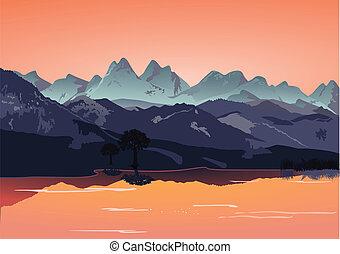 montagnes, à, lac