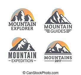 montagnes, éléments, silhouette, montagne, set., icônes, main, recours, vecteur, logo, dessiné, ski