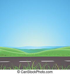 montagnes, été, printemps, fond, ou, route