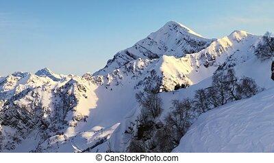 montagnes, aérien, sunlight., coup, neigeux