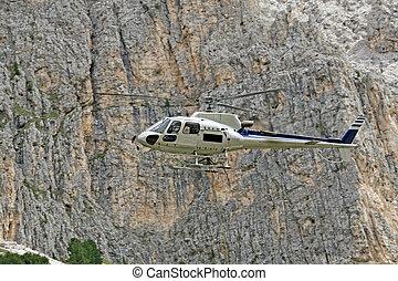 montagnes, altitude, élevé, matériels, hélicoptère, transport