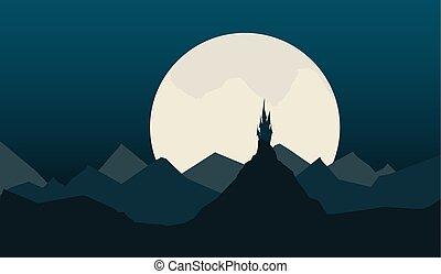 montagnes, ancien, étoile, ciel, contre, fond, nuit, château, paysage