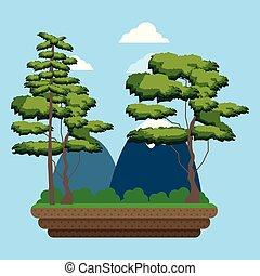 montagnes, arbres, paysage, dessin animé
